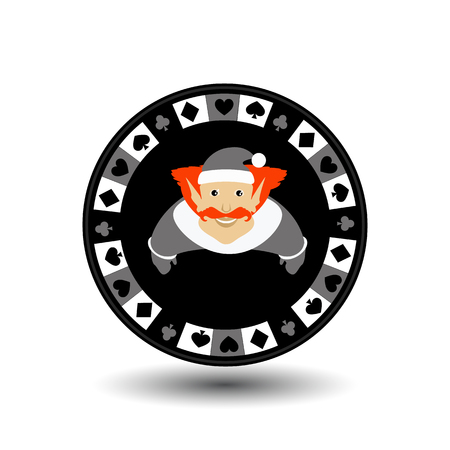 poker chip Christmas new year. Icon  vector illustration on a white background to separate easily. Use for websites, design, decoration, printing, etc. Elf in the hood on the gray chip.