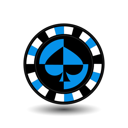 chips for poker biue a suit spade an icon on the white isolated background. illustration  vector. To use for the websites, design, the press, prints.