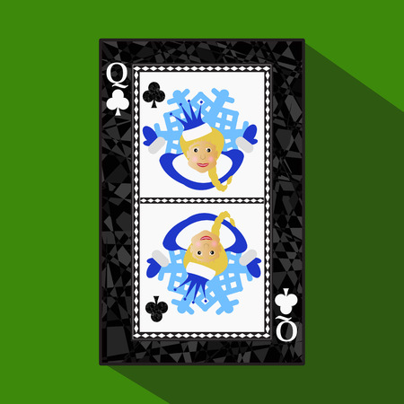 reg: playing card. the icon picture is easy. CLUB QUEEN. NEW YEAR OF MISISS SANTA CLAUS GIRL. CHRISTMAS SUBJECT.about dark region boundary. a vector illustration on a green background. application appointment for: website, press, t-shirt, fabric, interior, reg