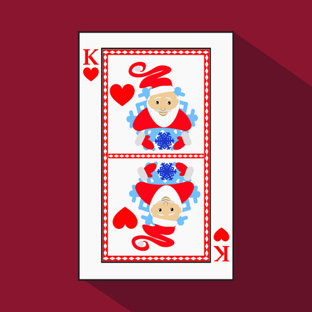 knave: playing card. the icon picture is easy. HEART KING. NEW YEAR SANTA CLAUS. CHRISTMAS SUBJECT.with white a basis substrate. a vector illustration on a red background. application appointment for: website, press, t-shirt, fabric, interior, registration, desi