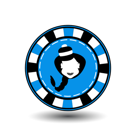 newyear: poker chip Christmas new year. Icon  vector illustration on a white background to separate easily. Use for websites, design, decoration, printing, etc. Girl Santa Claus in black and white on a blue chip