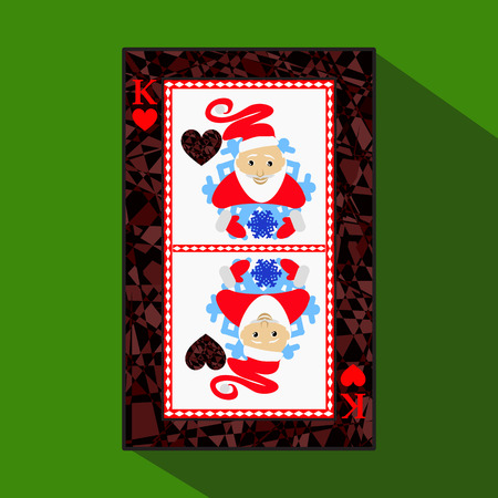 playing card. the icon picture is easy. HEART KING NEW YEAR SANTA CLAUS. CHRISTMAS SUBJECT. about dark region boundary. a vector illustration on a green background. application appointment for: website, press, t-shirt, fabric, interior, registration, desi