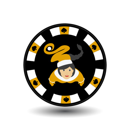 chip poker casino Christmas new year. Icon vector illustration  on white easy to separate the background. To use for sites, design, decoration, printing, etc. In the middle of the girl Santa Claus on a yellow chip on the edge of the shovel.