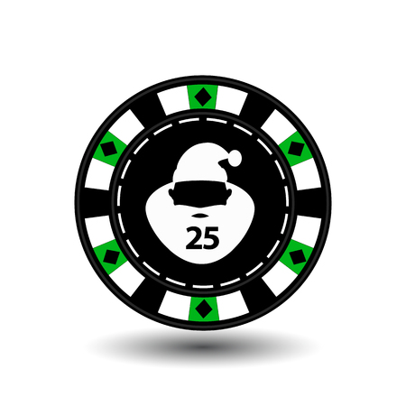 chip poker casino Christmas new year. Icon vector illustration EPS 10 on white easy to separate the background. To use for sites, design, decoration, printing, etc. In the middle of Santa Claus is white with the number twenty-five on the green chip Illustration