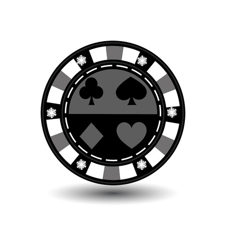 sides: chip poker casino Christmas new year. Icon vector illustration on white easy to separate the background. To use for sites, design, decoration, printing, etc. In the middle of the spade, heart, club and diamond on the sides of the snowflakes on gray chip Illustration