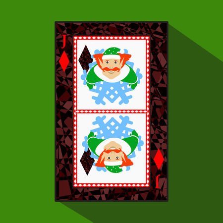 knave: playing card. the icon picture is easy. DIAMONT JACK JOKER NEW YEAR ELF. CHRISTMAS SUBJECT. about dark region boundary. a vector illustration on a green background. application appointment for: website, press, t-shirt, fabric, interior, registration, desi