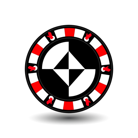 chip poker casino Christmas new year. Icon vector illustration on white easy to separate the background. To use for sites, design, decoration, printing, etc. In the middle of the diamond on the sides of the gloves on the red chip