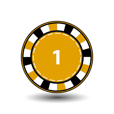 coordinated: chips yellow one for poker an icon on the white isolated background. illustration  vector. To use for the websites, design, the press, prints. Illustration