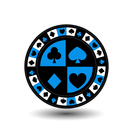 gambler: chips for poker blue a suit an icon on the white isolated background. illustration  vector. To use for the websites, design, the press, prints.