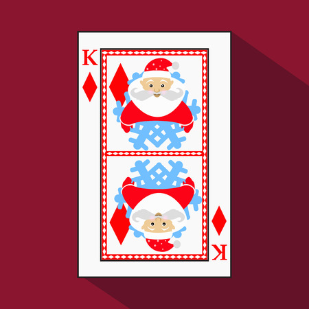 knave: playing card. the icon picture is easy. DIAMONT KING. NEW YEAR SANTA CLAUS. CHRISTMAS SUBJECT. with white a basis substrate. a vector illustration on a red background. application appointment for: website, press, t-shirt, fabric, interior, registration, d