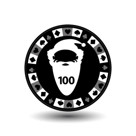 online roulette: chip poker casino Christmas new year. Icon vector illustration  on white easy to separate the background. To use for sites, design, decoration, printing, etc. In the middle of Santa Claus is white with the figure of a hundred