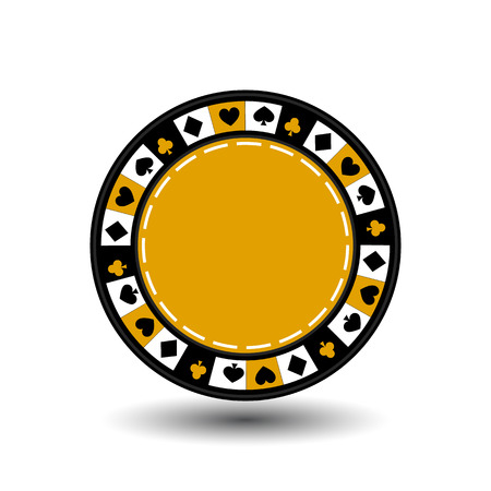 chips yellow for poker an icon on the white isolated background. illustration  vector. To use for the websites, design, the press, prints.