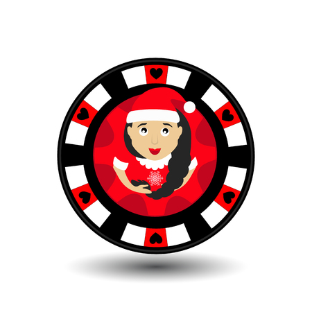 chip poker casino Christmas new year. Icon vector illustration  on white easy to separate the background. To use for sites, design, decoration, printing, etc. In the middle of the girl Santa Claus with a scythe on the red chip. Illustration