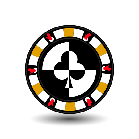chip poker casino Christmas new year. Icon vector illustration  on white easy to separate the background. To use for sites, design, decoration, printing, etc. In the middle of the club on the sides of the glove on the yellow chip