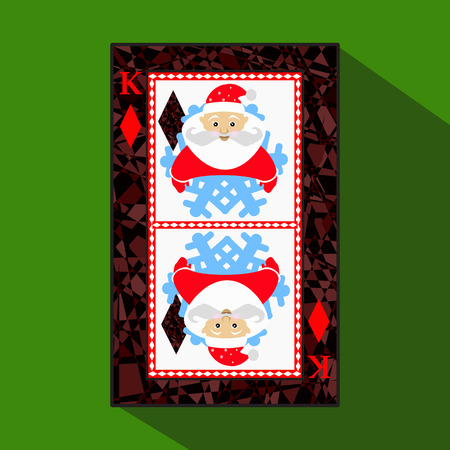 playing card. the icon picture is easy. DIAMONT KING. NEW YEAR SANTA CLAUS. CHRISTMAS SUBJECT. about dark region boundary. a vector illustration on a green background. application appointment for: website, press, t-shirt, fabric, interior, registration, d
