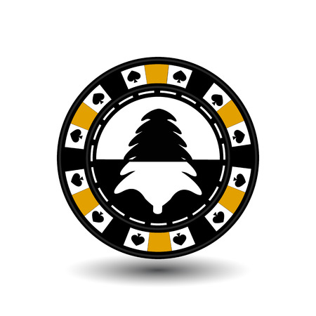 chip poker casino Christmas new year. Icon vector illustration  on white easy to separate the background. To use for sites, design, decoration, printing, etc. In the middle of black and white tree on a yellow chip. Illustration