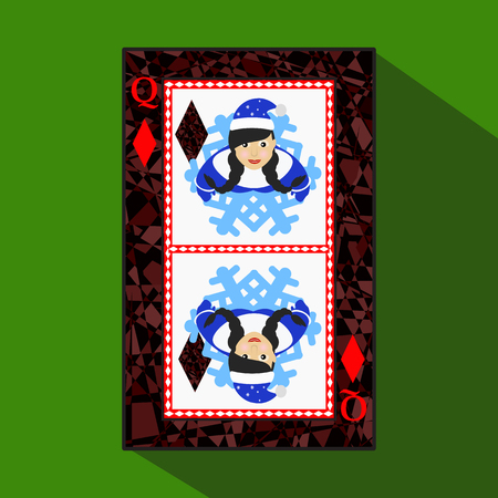 playing card. the icon picture is easy. DIAMONT QUEEN. NEW YEAR OF MISISS SANTA CLAUS GIRL. CHRISTMAS SUBJECT. about dark region boundary. a vector illustration on a green background. application appointment for: website, press, t-shirt, fabric, interior, Illustration