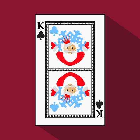 knave: playing card. the icon picture is easy. CLUB KING. NEW YEAR SANTA CLAUS. CHRISTMAS SUBJECT. with white a basis substrate. a vector illustration on a red background. application appointment for: website, press, t-shirt, fabric, interior, registration, desi