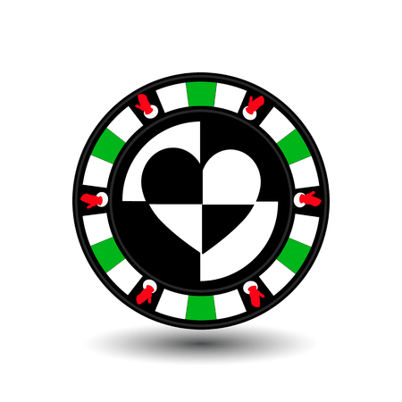 chip poker casino Christmas new year. Icon vector illustration  on white easy to separate the background. To use for sites, design, decoration, printing, etc. In the middle of the heart on the sides of the gloves on the green chip Illustration