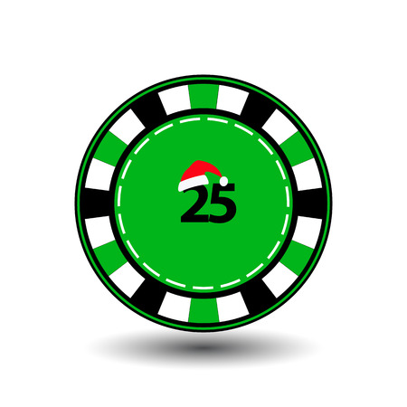 poker chip Christmas new year. Icon vector illustration on a white background to separate easily. Use for websites, design, decoration, printing, etc. Santa Claus cap on a green chip on the green Digits twenty-five.