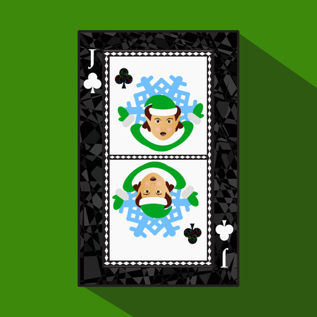 playing card. the icon picture is easy. CLUB JACK JOKER NEW YEAR ELF. CHRISTMAS SUBJECT. about dark region boundary. a vector illustration on a green background. application appointment for: website, press, t-shirt, fabric, interior, registration, design Illustration