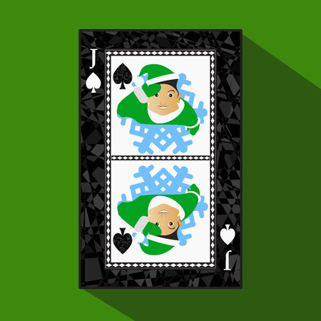 playing card. the icon picture is easy. peak spide JACK JOKER NEW YEAR ELF. CHRISTMAS SUBJECT. about dark region boundary. a vector illustration on a green background. application appointment for: website, press, t-shirt, fabric, interior, registration, d
