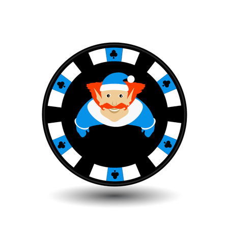 toke: poker chip Christmas new year. Icon  vector illustration on a white background to separate easily. Use for websites, design, decoration, printing, etc. Elf in cap on the blue chip