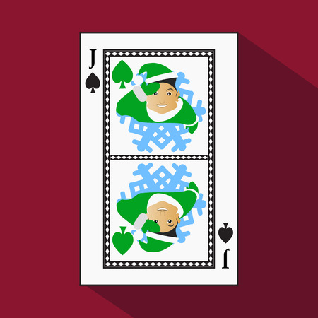 substrate: playing card. the icon picture is easy. peak spide JACK JOKER NEW YEAR ELF. CHRISTMAS SUBJECT. with white a basis substrate. a vector illustration on a red background. application appointment for: website, press, t-shirt, fabric, interior, registration, d