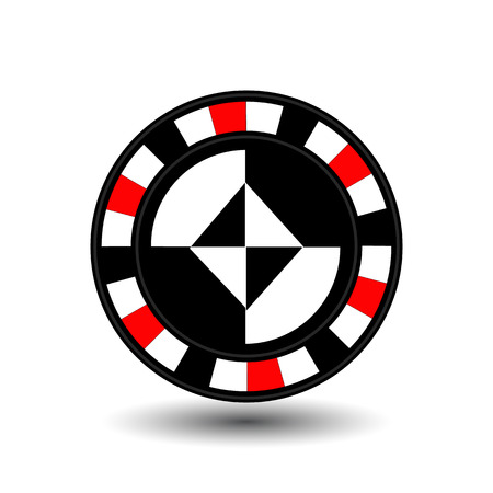 chips for poker red a suit diamond white black an icon on the white isolated background. illustration  vector. To use for the websites, design, the press, prints