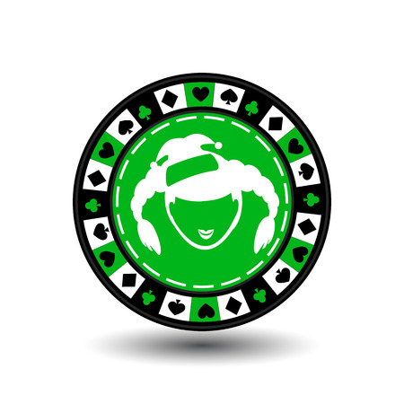 poker chip Christmas new year. Icon EPS 10 vector illustration on a white background to separate easily. Use for websites, design, decoration, printing, etc. Santa Claus girl white on green chip circle around the diamond, heart, club, spade.