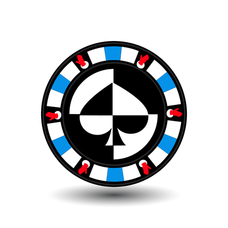 sides: chip poker casino Christmas new year. Icon vector illustration  on white easy to separate the background. To use for sites, design, decoration, printing, etc. In the middle of the shovel on the sides of the gloves on the blue chip