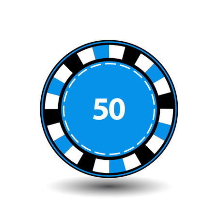 chips blue 50 for poker an icon on the white isolated background. illustration  vector. To use for the websites, design, the press, prints Stock Photo