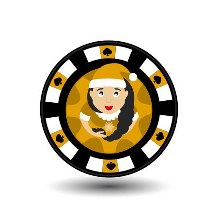chip poker casino Christmas new year. Icon vector illustration  on white easy to separate the background. To use for sites, design, decoration, printing, etc. In the middle of the girl Santa Claus with a scythe on the yellow chip. Stock Photo