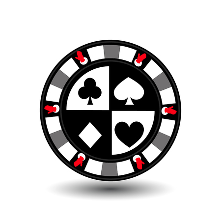chip poker casino Christmas new year. Icon vector illustration  on white easy to separate the background. To use for sites, design, decoration, printing, etc. In the middle of the spade, heart, club and diamond on the sides of the gloves in grey feature