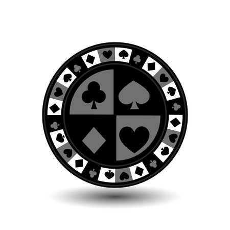 chips for poker grey a suit an icon on the white isolated background. illustration  vector. To use for the websites, design, the press, prints.