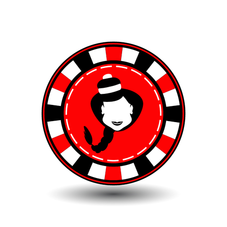 poker chip Christmas new year. Icon  vector illustration on a white background to separate easily. Use for websites, design, decoration, printing, etc. Girl Santa Claus in black and white on a red chip