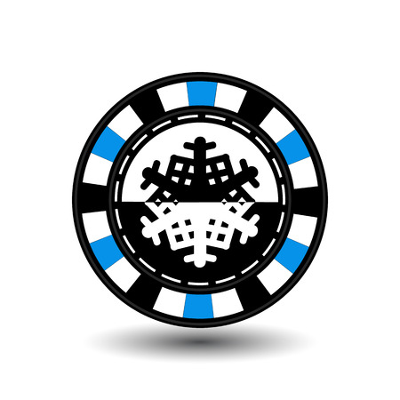 chip poker casino Christmas new year. Icon vector illustration  on white easy to separate the background. To use for sites, design, decoration, printing, etc. In the middle of the black-and-white snowflake on blue chip.