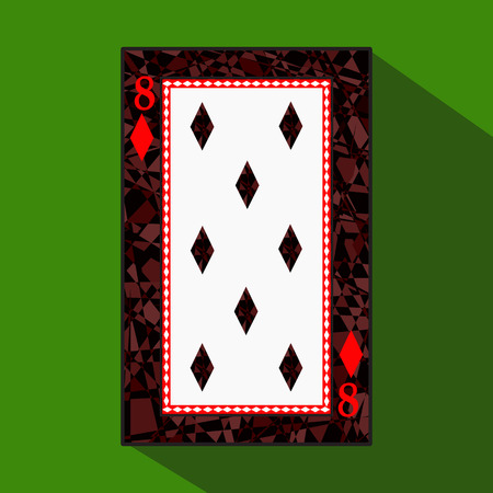 playing card. the icon picture is easy. DIAMONT 8 about dark region boundary. a vector illustration on a green background. application appointment for: website, press, t-shirt, fabric, interior, registration, design.TO PLAY POKER.