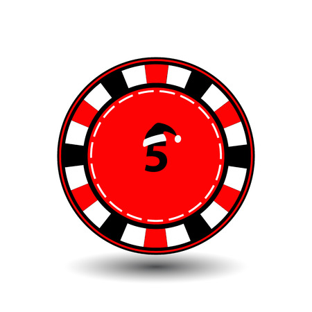 double game: poker chip Christmas new year. Icon  vector illustration on a white background to separate easily. Use for websites, design, decoration, printing, etc. Santa Claus cap on a black chip on the red Digits five. Stock Photo