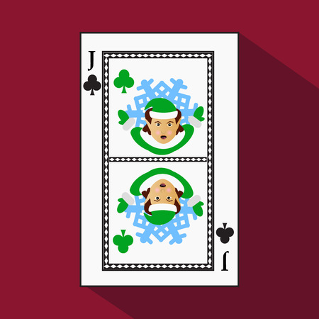 playing card. the icon picture is easy. CLUB playing card. the icon picture is easy. CLUB JACK JOKER NEW YEAR ELF. CHRISTMAS SUBJECT. with white a basis substrate. a vector illustration on a red background. application appointment for: website, press, t-s