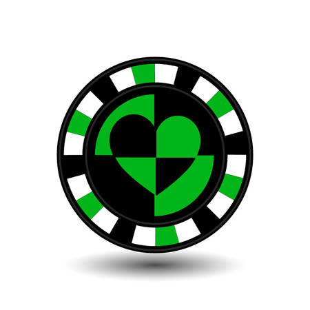 chips for poker green a suit heart an icon on the white isolated background. illustration  vector. To use for the websites, design, the press, prints.