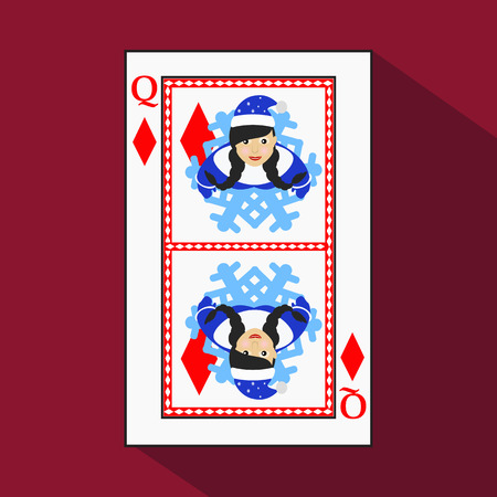knave: playing card. the icon picture is easy. DIAMONT QUEEN. NEW YEAR OF MISISS SANTA CLAUS GIRL. CHRISTMAS SUBJECT. with white a basis substrate. a vector illustration on a red background. application appointment for: website, press, t-shirt, fabric, interior,