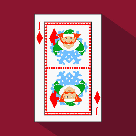 stud: playing card. the icon picture is easy. DIAMONT JACK JOKER NEW YEAR ELF. CHRISTMAS SUBJECT. with white a basis substrate. a vector illustration on a red background. application appointment for: website, press, t-shirt, fabric, interior, registration, desi
