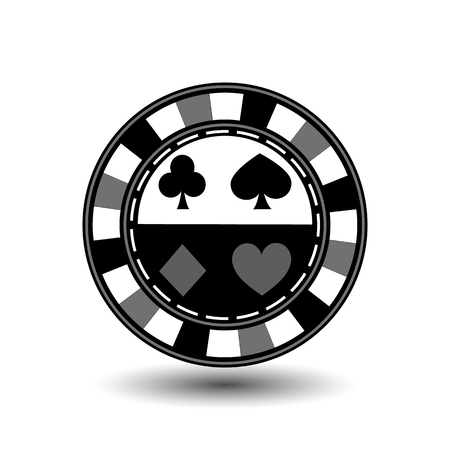 chips for poker grey suit spade heart diamond club blue black an icon on the white isolated background.