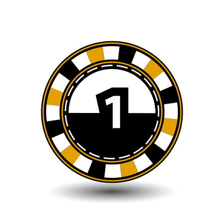 chips for poker yellow a suit one figure and a white dotted line the line.
