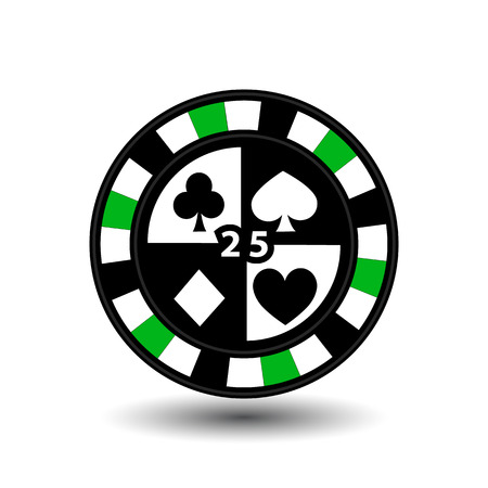 coordinated: chips for poker green four suits and figure 25 and a white dotted line the line