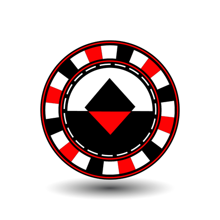 coordinated: chips for poker red a suit diamond red black an icon on the white isolated background. Illustration