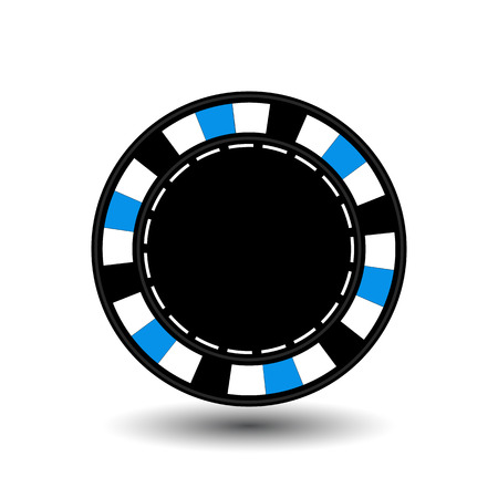 gaining: chips for poker blue empty and a white dotted line the line. an icon on the white isolated background. Illustration