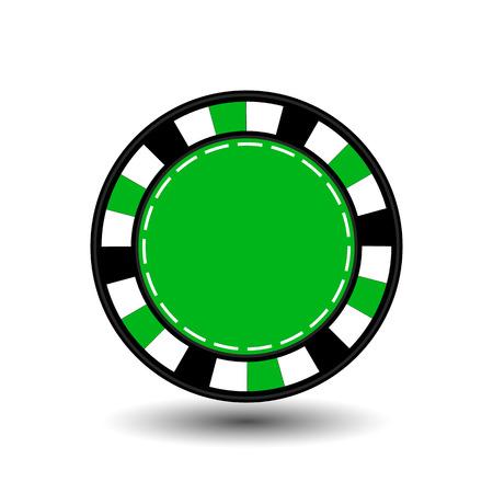 chip per il poker verde nel mezzo di una rotonda e linea tratteggiata bianca la linea. Vettoriali