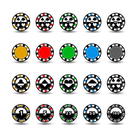set chips for poker yellow green grey red yellow one in the middle and rectangles with a side.